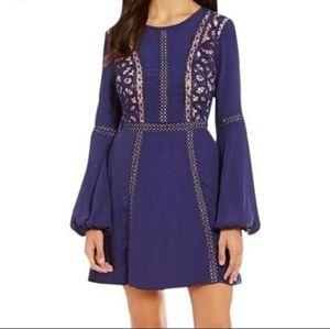 gianni bini blue bell sleeve embroidered dress